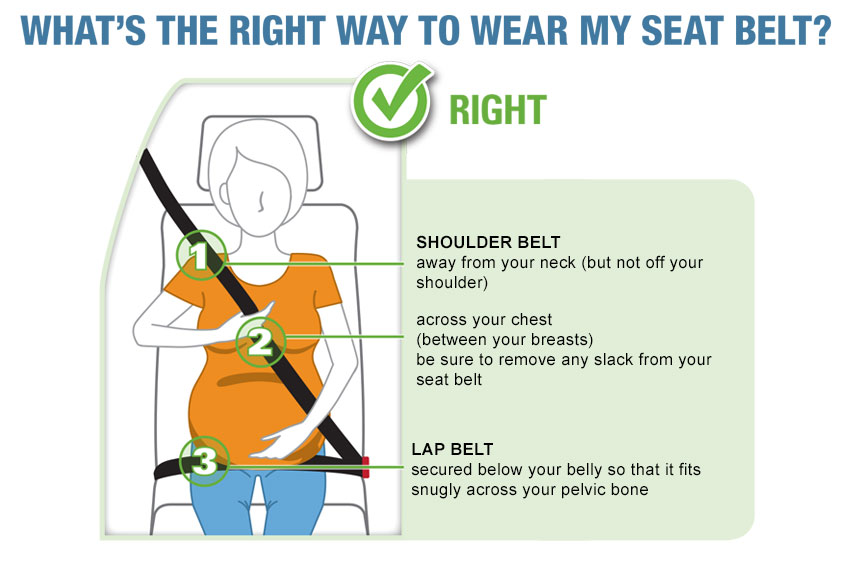 Pregnant woman putting on a seat belt